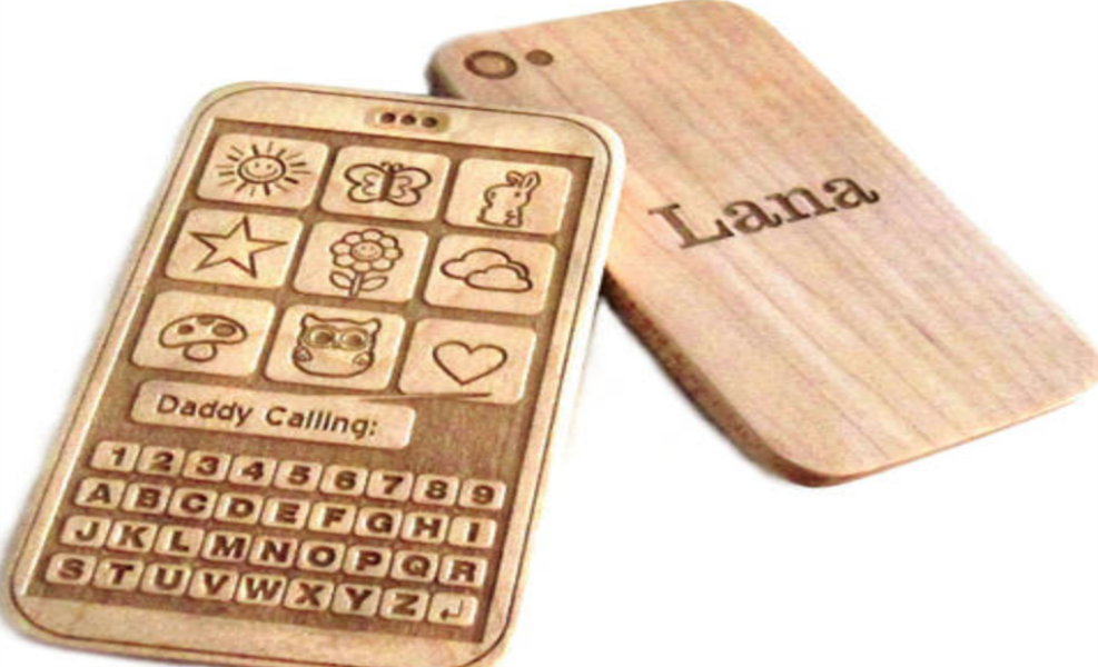 This wooden teether phone will be a great gift for Baby's first Christmas
