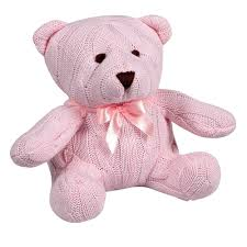 Image of: Elegant Baby Pink Cable Knit Teddy Bear