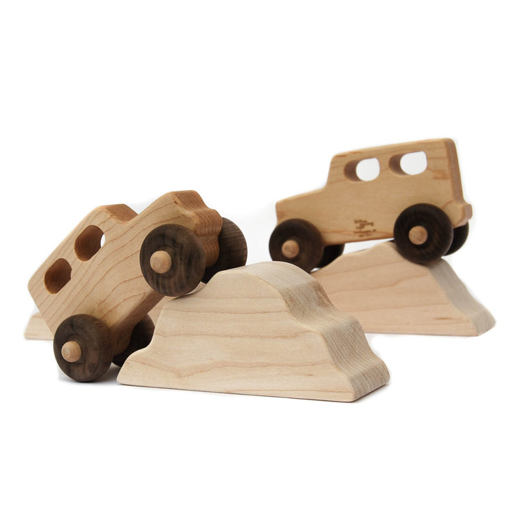 Image of: Wood Toy Trucks with Mountains