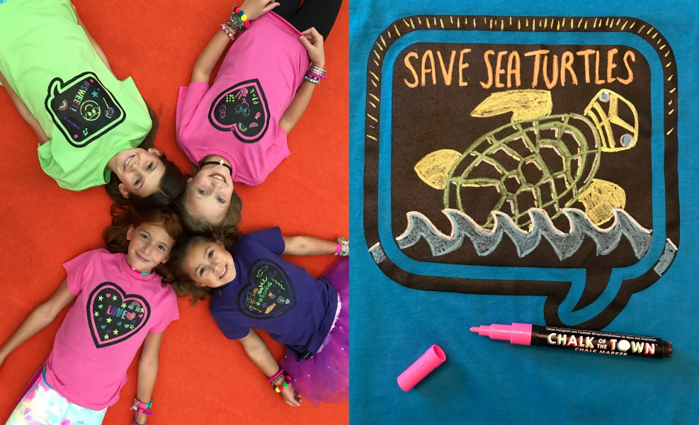 We found the coolest chalk t-shirts (yes, t-shirts!) at the New York Toy Fair.