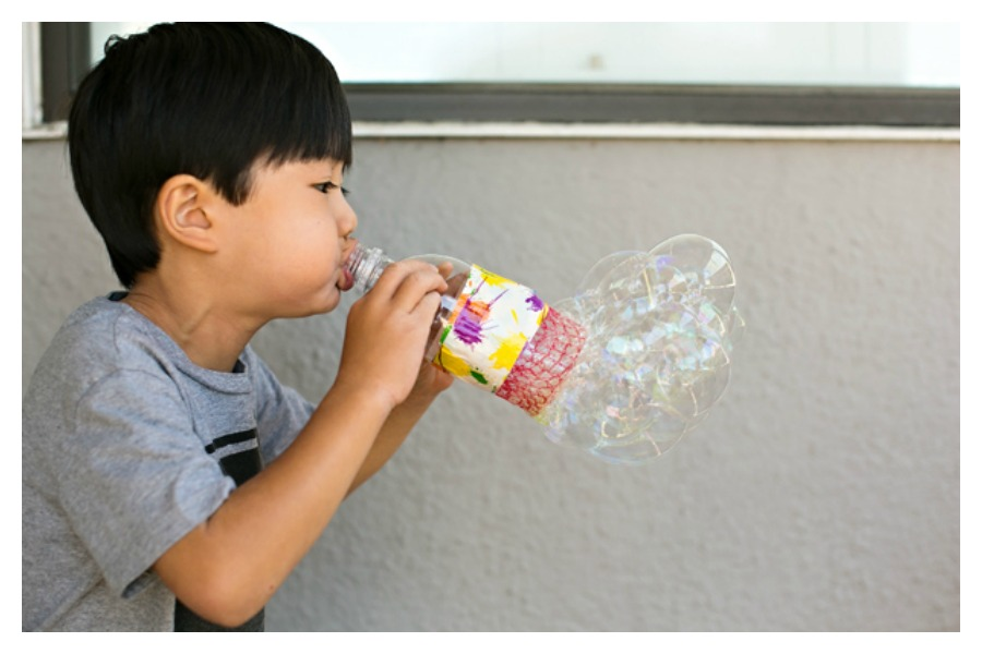 DIY Bubble Blowers Are fun for earth day!
