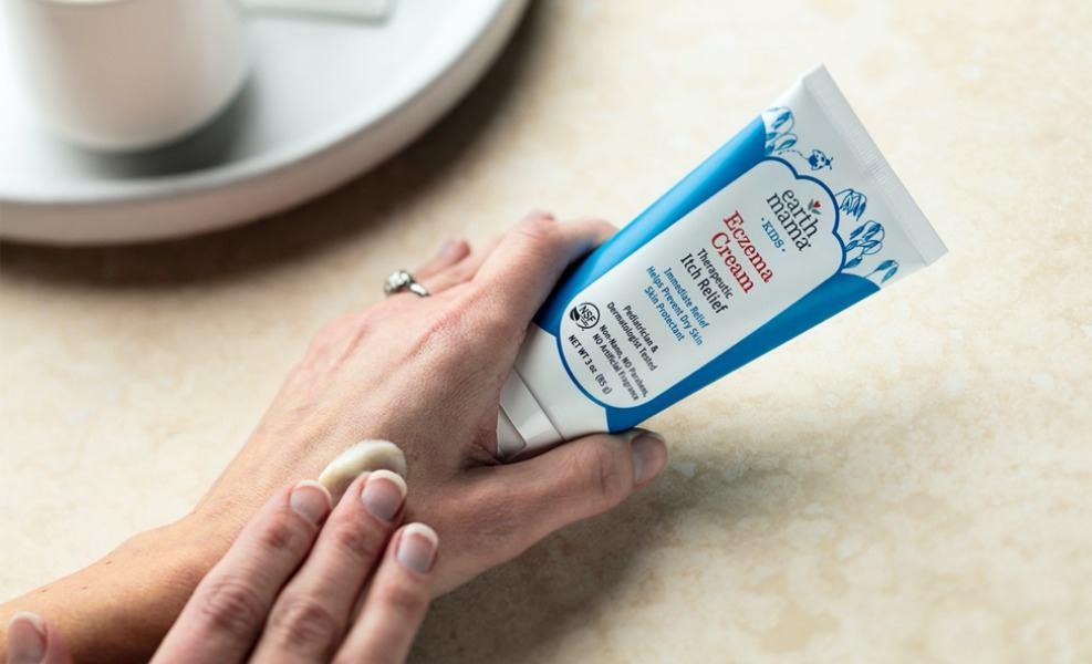 Earth Mama Eczema Cream is a natural way to kiss itchy, rashy skin goodbye!