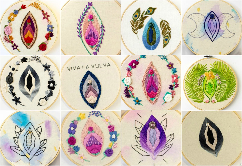 What better way to show pride than with these gorgeous hand-embroidered vulvas?