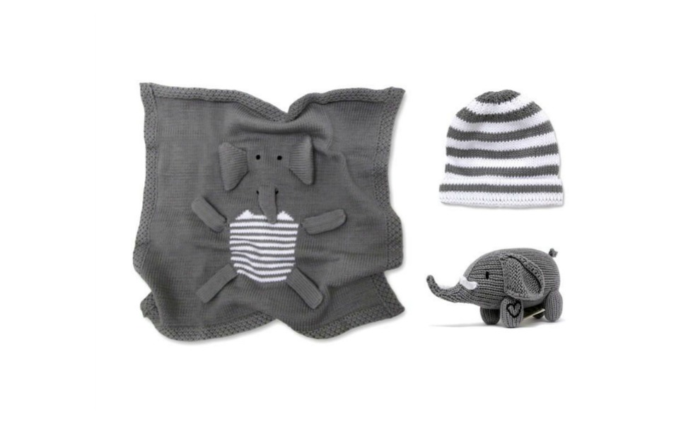 The elephant newborn set has a blanket that's soft and cozy.