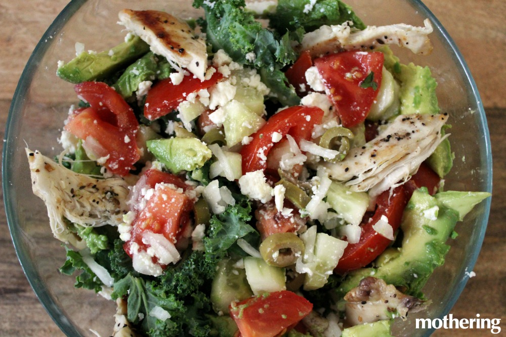 Combined with feta cheese, organic tomatoes,and avocado, kale transforms into a food your kids will actually get excited about!