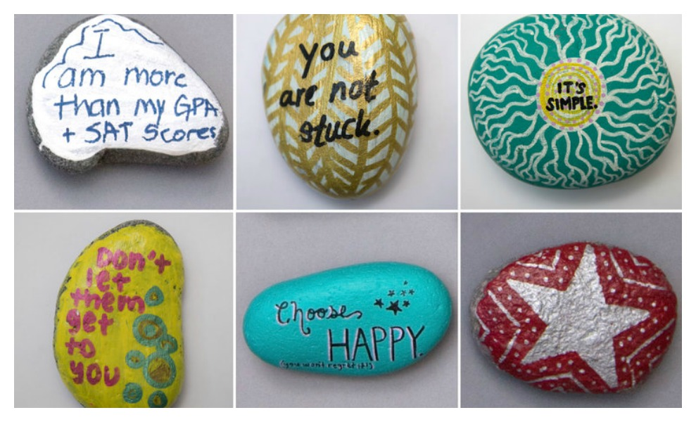 Rocks made by high school students support peers with anxiety.