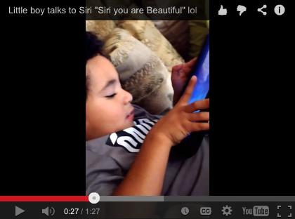 Little Boy Talks to Siri