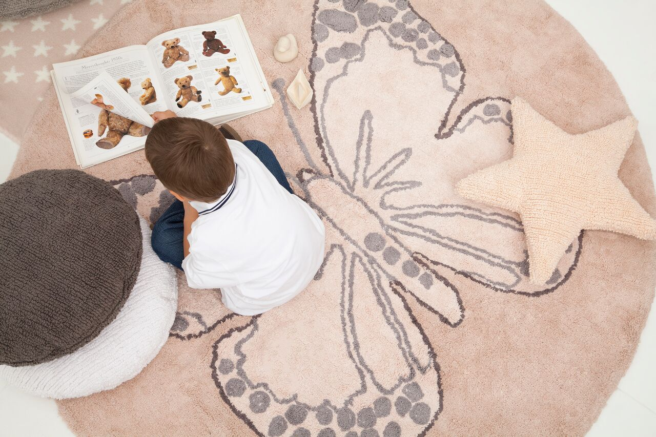 Lorena Canals Butterfly Nude Washable Childrens Rug