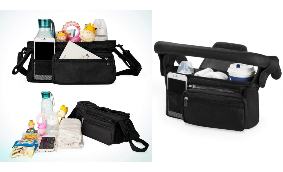 The Momcozy stroller organizer keeps things at fingertips