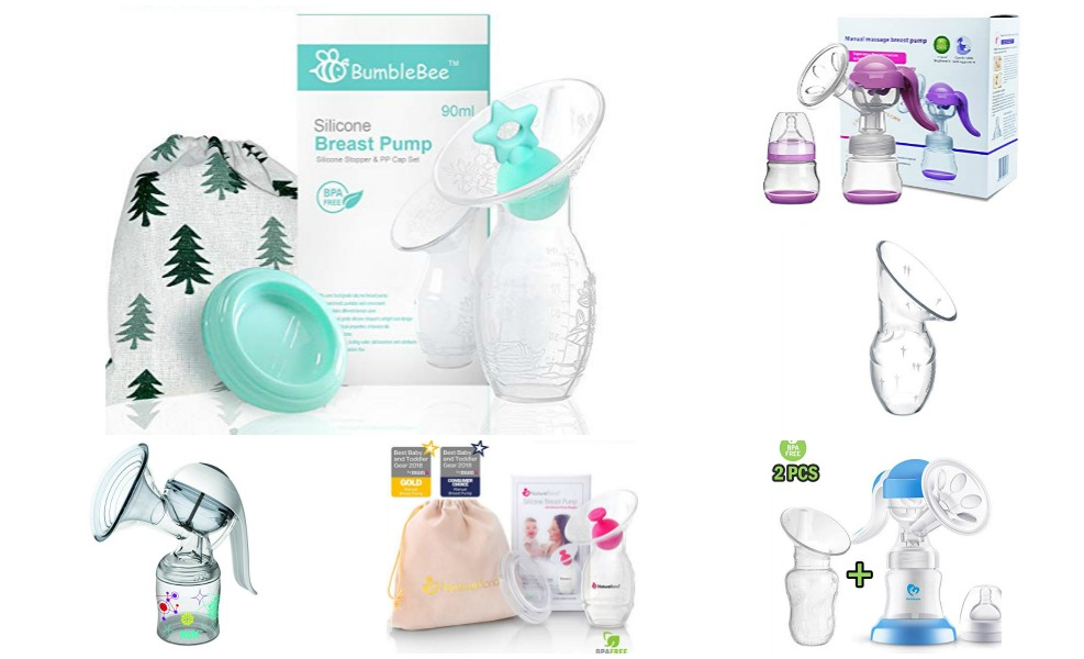 manual breast pump collage