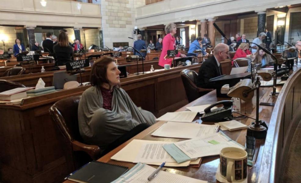 Nebraska Senator Machaela Cavanaugh breastfeeds on the legislature floor and makes history
