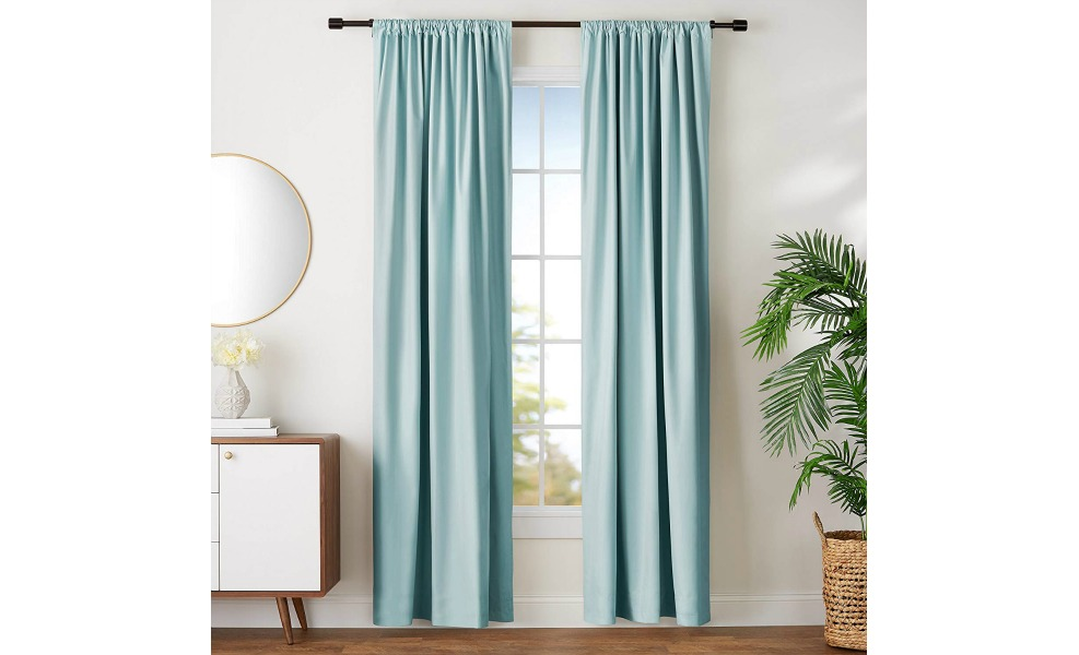 These room-darkening blackout curtains come in nice, light colors.