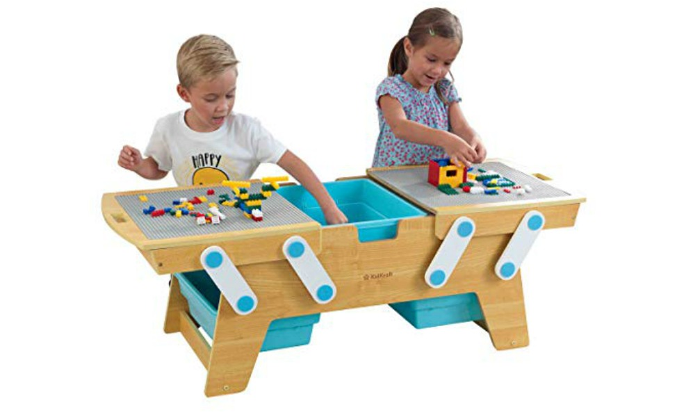 KidKraft wooden tables are great building brick storage solutions