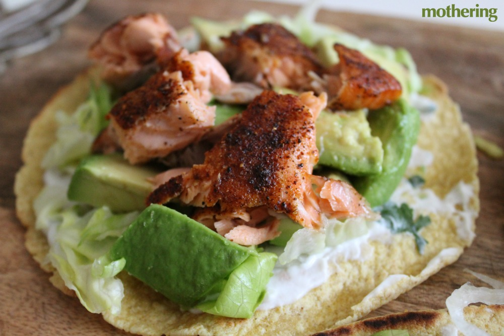 These salmon tacos are easy to make and super delicious.