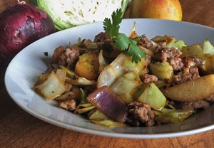 sausage-apple-cabbage-hash