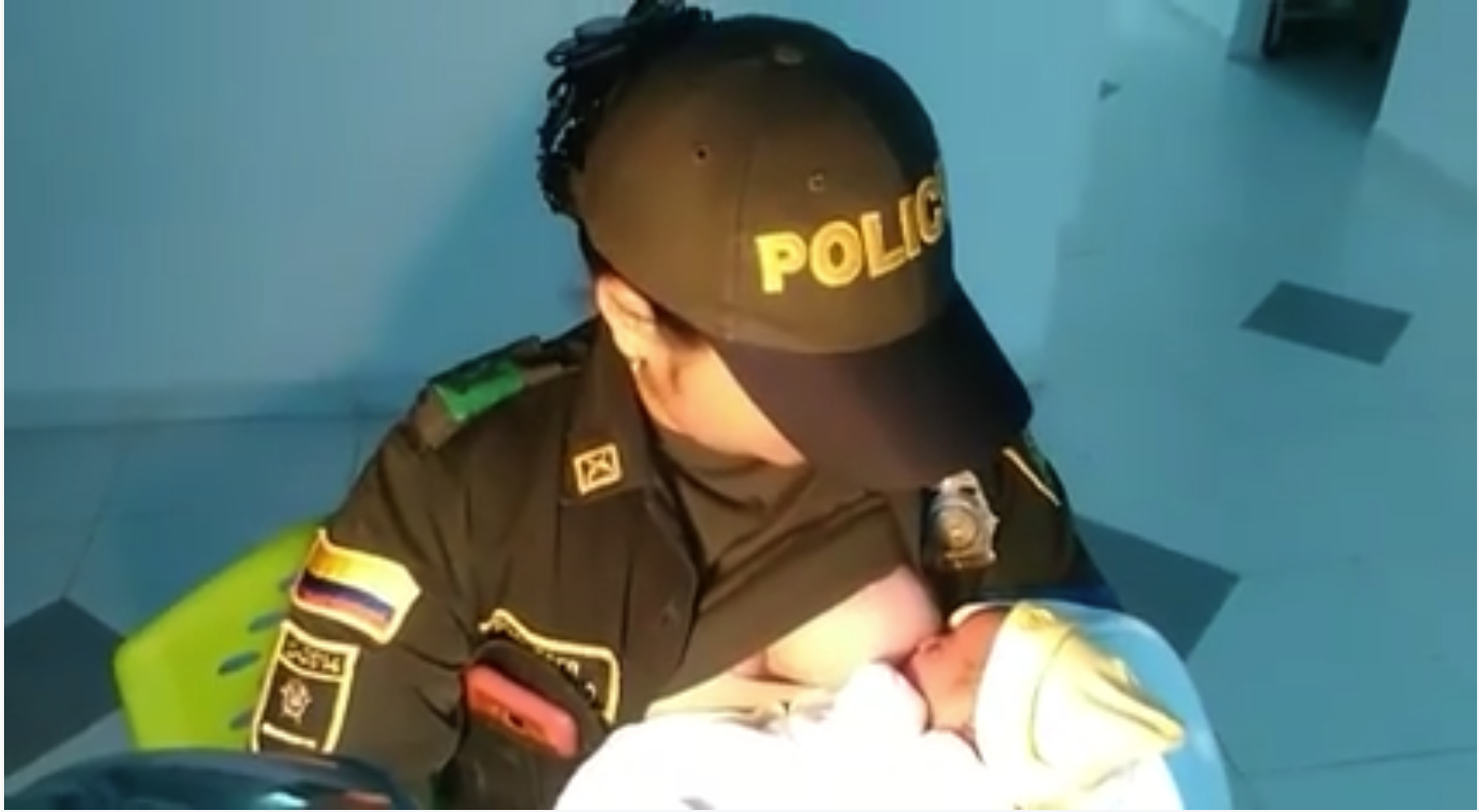Police Officer Breastfeeds Abandoned Baby