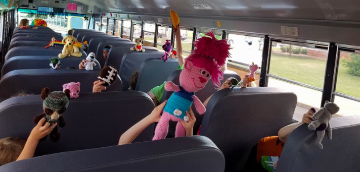 Trudy Serres is a school bus driver who makes crocheted toys for her little passengers.