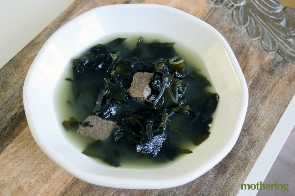 Many Koreans believe that seaweed soup helps mothers increase their milk supply.