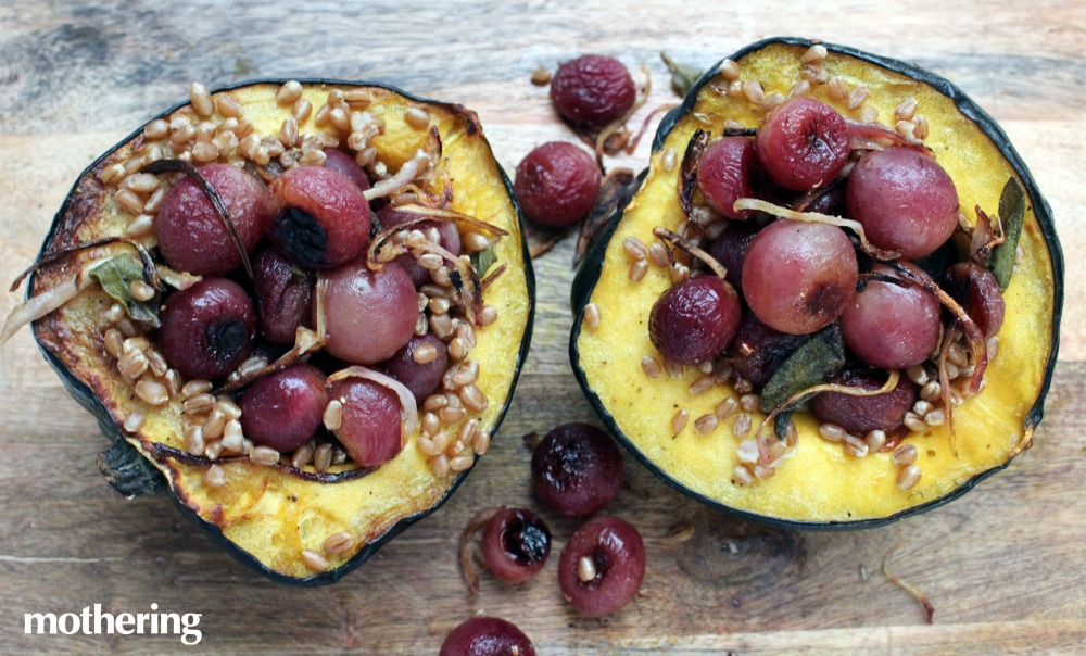 We encourage you to experiment with fun, healthy vegan meals this month starting with this grape-stuffed acorn squash.