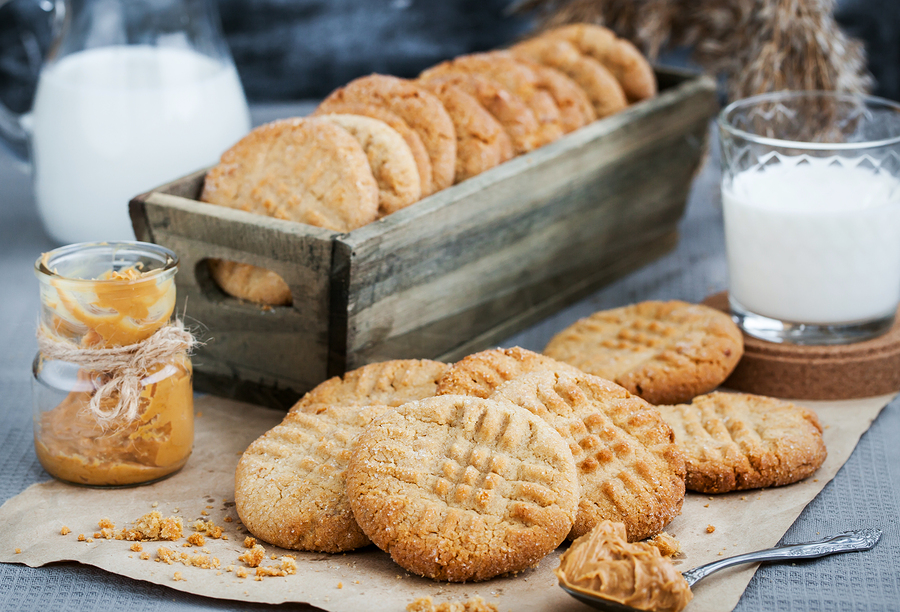 Freshly baked peanut butter cookies - a favorite after-school snack.