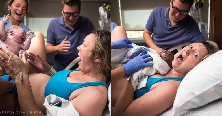 This new mom's surprise was caught on camera, and it's hilarious.
