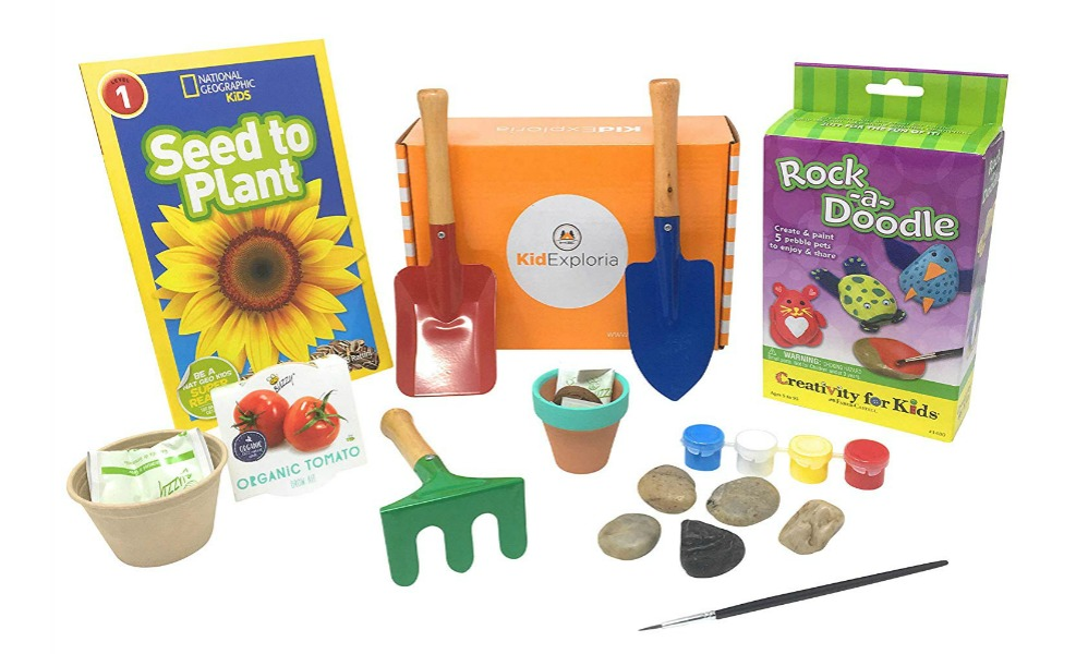 KidExploria's garden kit is a great Montessori toy for summer gardening