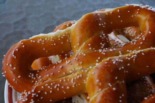 Your children will have fun shaping these soft pretzels!
