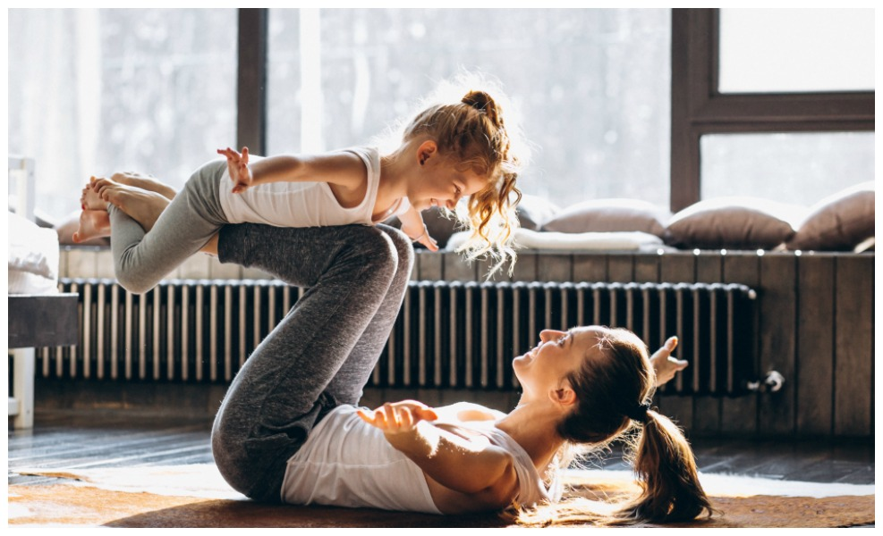 Practicing Yoga with Kids is good for mama and littles.