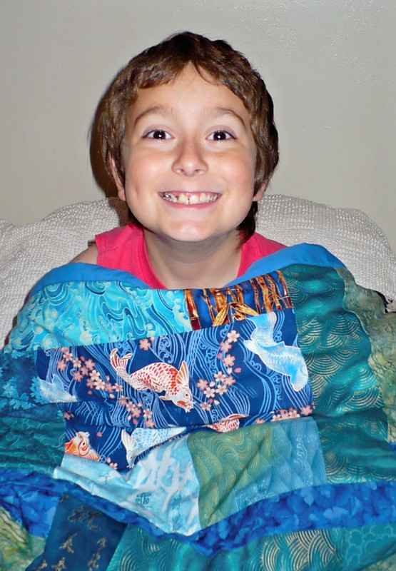 Fletcher and his quilt 2010